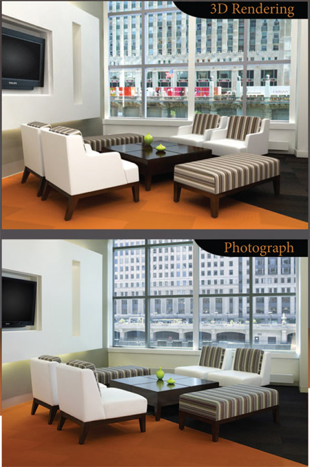 Photograph vs. Trinity Animation 3d rendering from 3D imagery brochure.