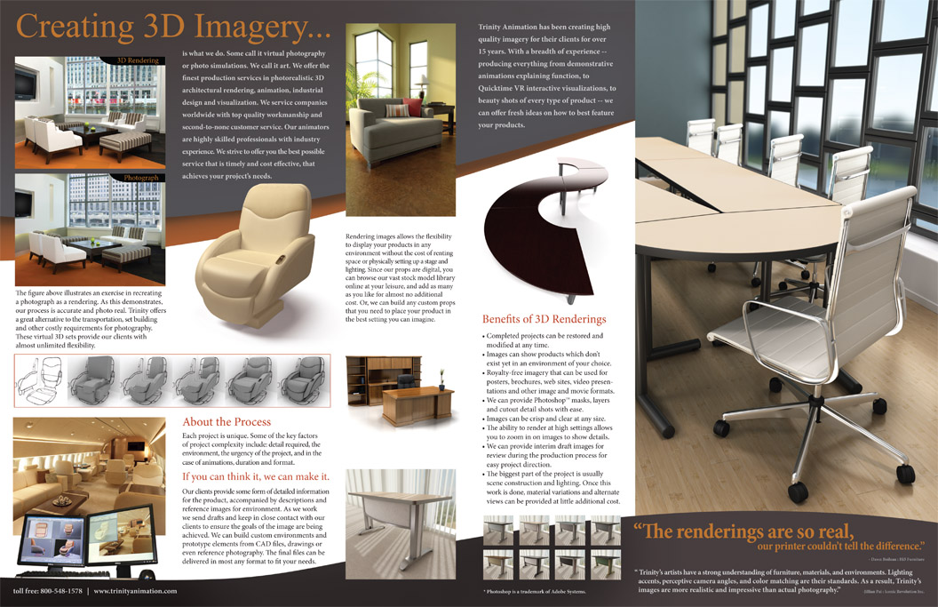 Interior pages for Trinity Animation 3d imagery and rendering services brochure.