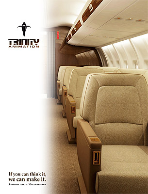 Trinity Animation's aircraft interiors brochure - cover art.