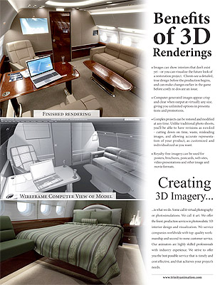 Page 2 of Trinity Animation's aircraft interiors brochure, showing wireframe and rendered versions of a private jet interior.