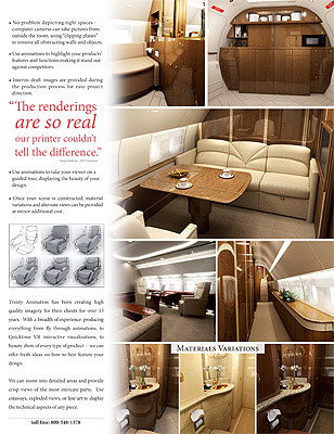 Aircraft interiors brochure page showing galley, lavatory, and hallway of a private jet.