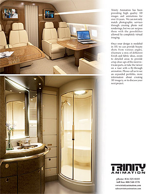 Page 4 of Trinity Animation's aircraft interiors brochure, with luxury VIP and lavatory renderings.