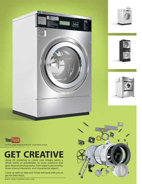 Creative Advertising Agency Animation page with shot from Maytag Commercial Washers animation.