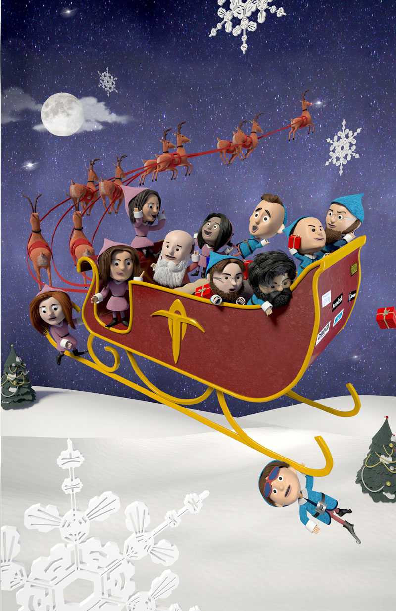 The Trinity gang on Santa's flying sleigh in the winter landscape.