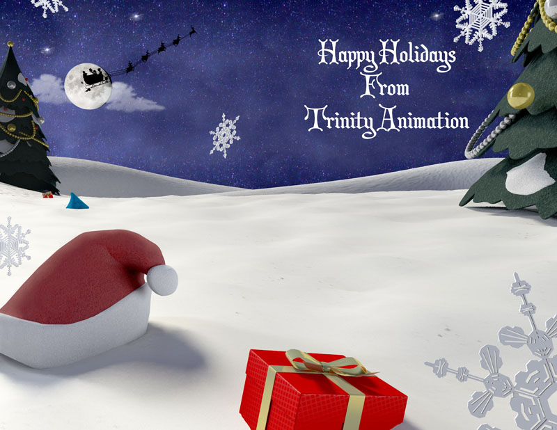 The snowscape interior of Trinity Animation's 2013 Christmas card.