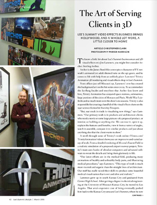 midwest animation studio Trinity Animation article in Lee's Summit Lifestyle Magazine