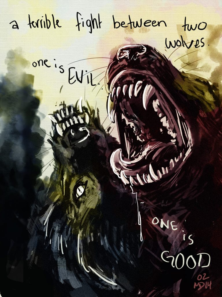 """""""Two Wolves"""" - a painting by Mallory Dorn, animator at Trinity Animation."""