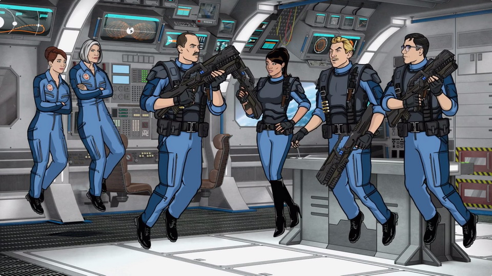The sci-fi internal control panel animation environment as seen in the finished episode of Archer.