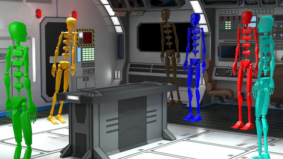 Trinity Animation's raw rendering of the spaceship animation environment, with bipeds in place for character perspective and sizing.
