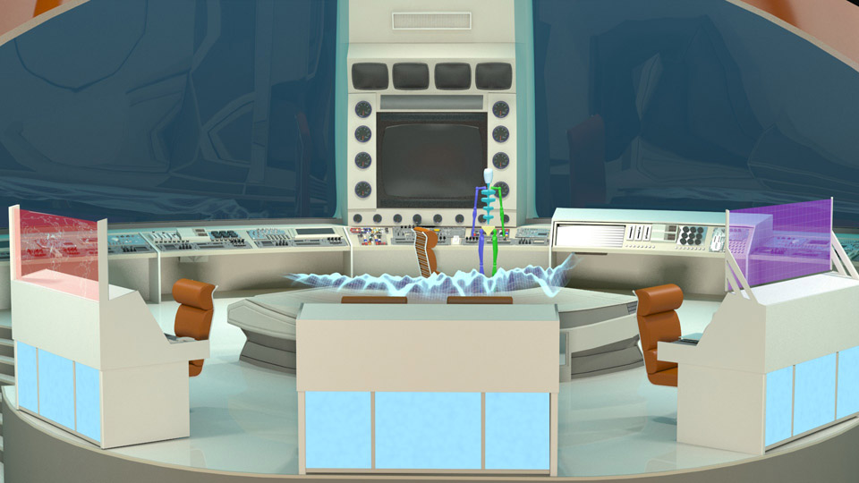 Raw render of the underwater sea lab animation environment.