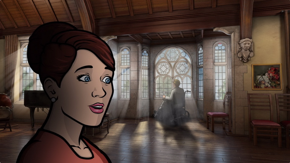 The moody music room animation environment created by Trinity Animation for Archer.
