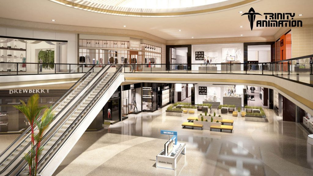 View of an anchor store in vr tour shopping center, featuring escalator.