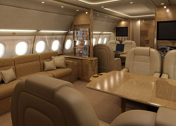 Aircraft interior rendering depicting bespoke seating and lounge area.