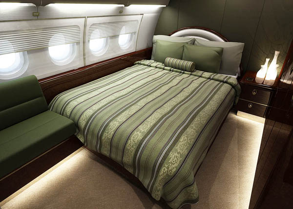 Rendering of a luxury bedroom on a private jet.