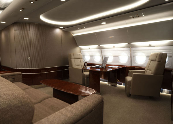 VIP area rendering of a private jet interior.