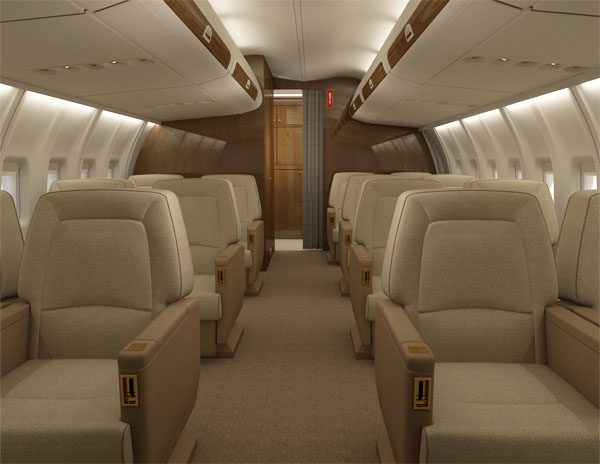 Aircraft rendering of the main seating area with overhead storage.