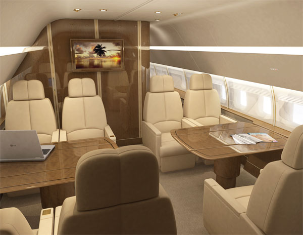 Rendered seating area of a luxury aircraft.