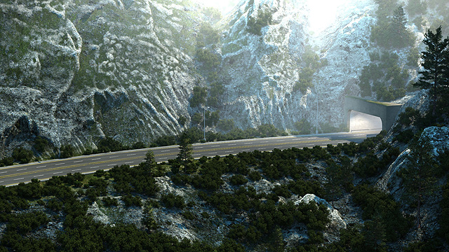 Car commercial tunnel exit and mountainous environment design.