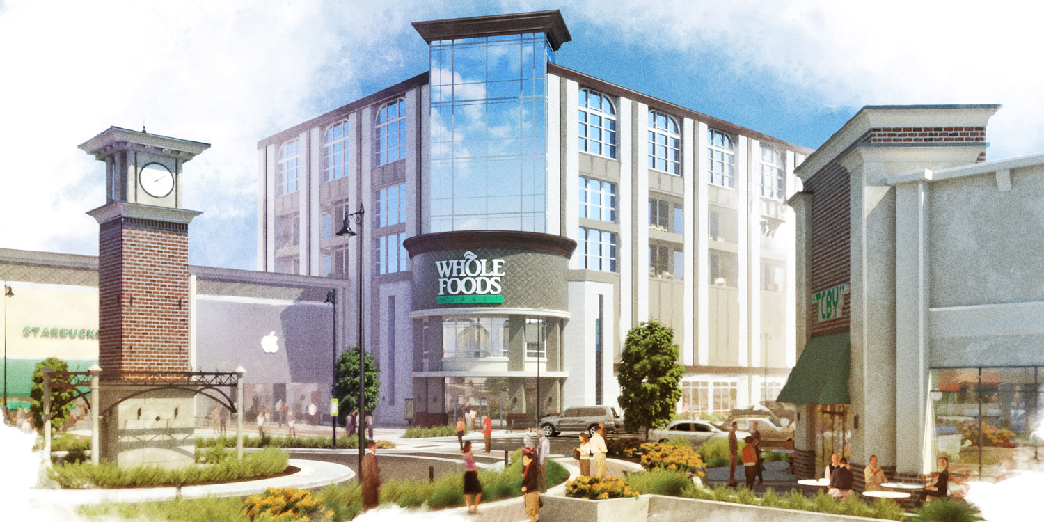Retail Real Estate Rendering Exterior in painterly style.