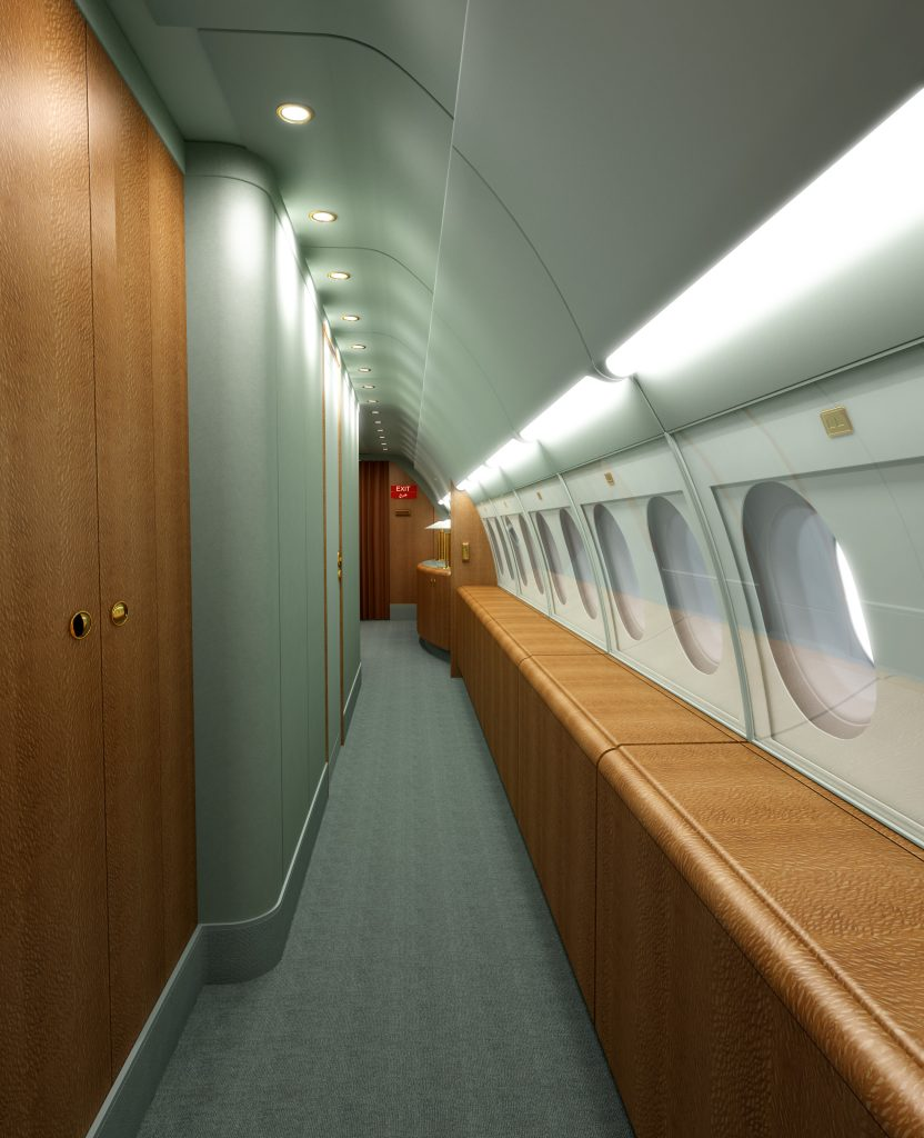 Side hall rendering of an aircraft.