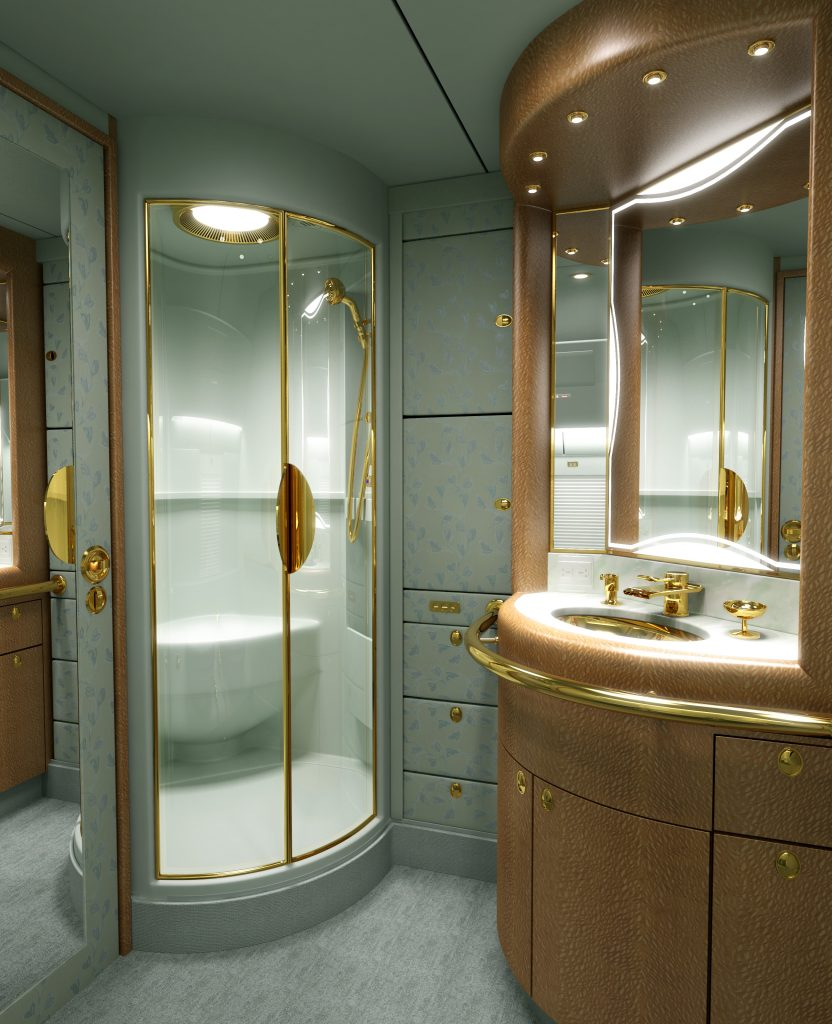 Rendering of a luxury bathroom area in a private jet.