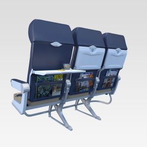 Aircraft interior rendering of gang of 3 seats with tray tables.