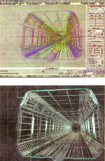 newspaper scans of 3ds max 1 interface with tunnel scene for Starship Troopers loaded.