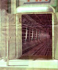 newspaper scan of test composite for FTA tram tunnel scene in Starship Troopers.
