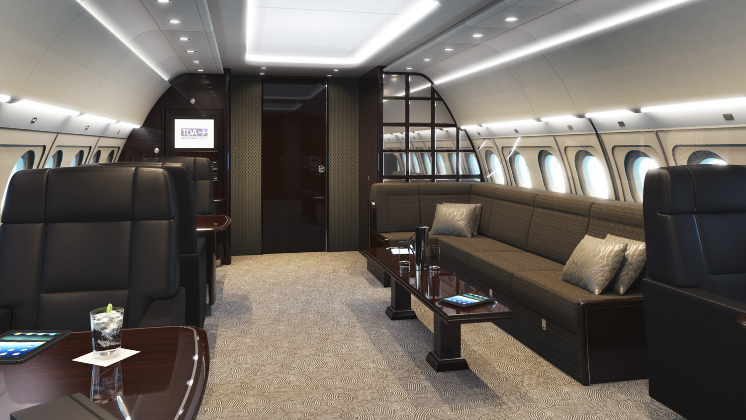 Aircraft interior rendering of the front lounge area