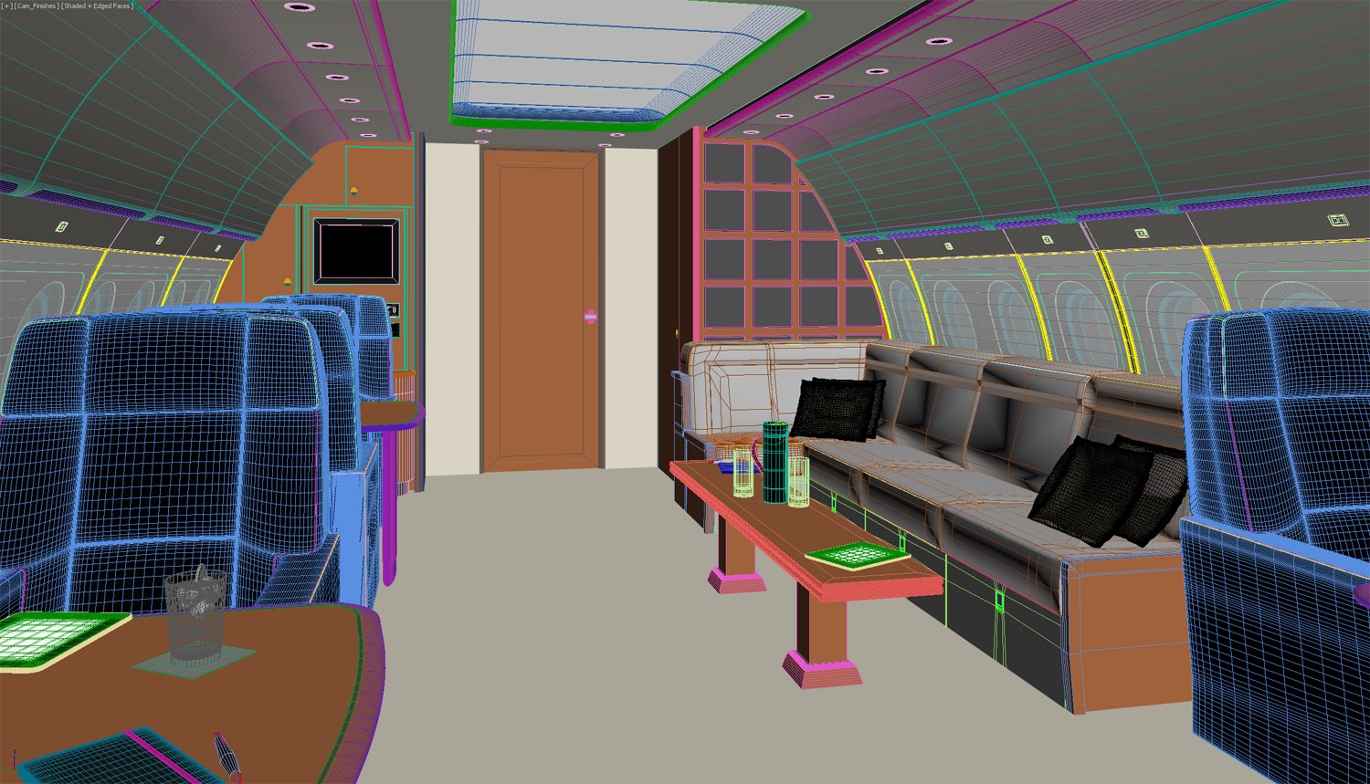 Wireframe view of lounge area.