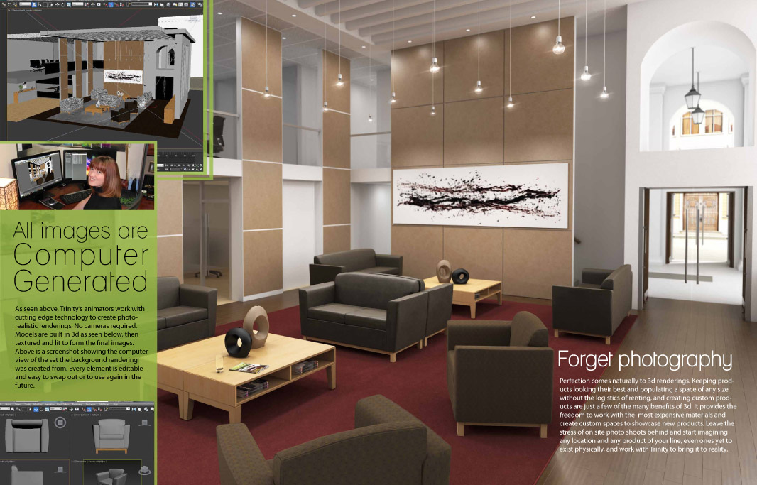 Furniture Visualization brochure interior showing photo realism and CG origins