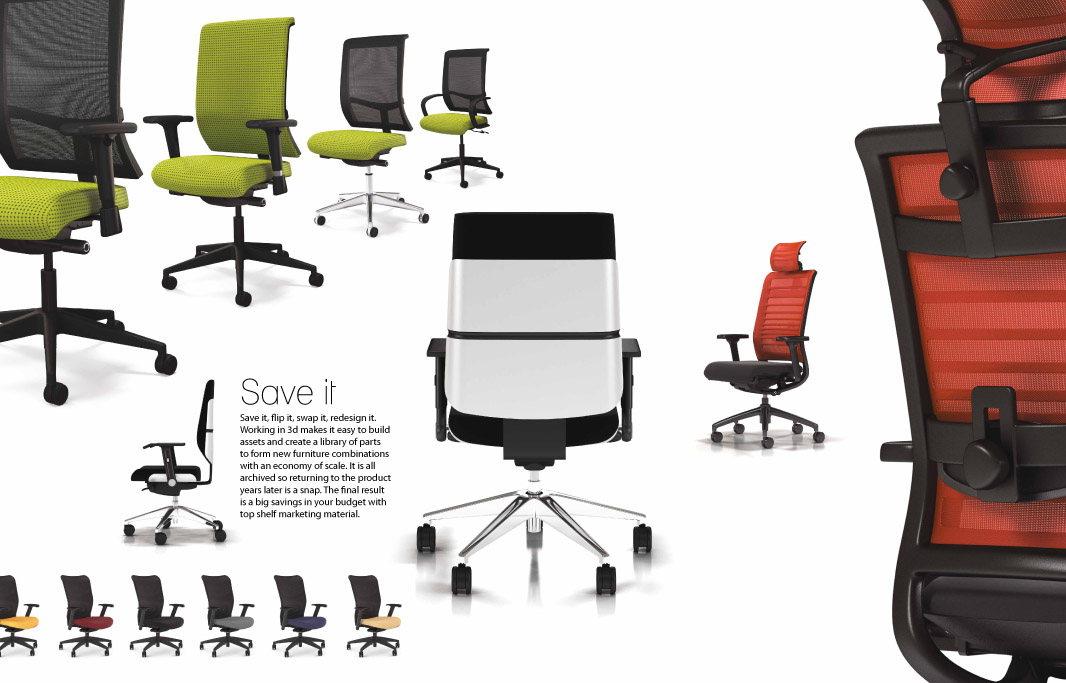 Task Chair furniture visualizations section of brochure