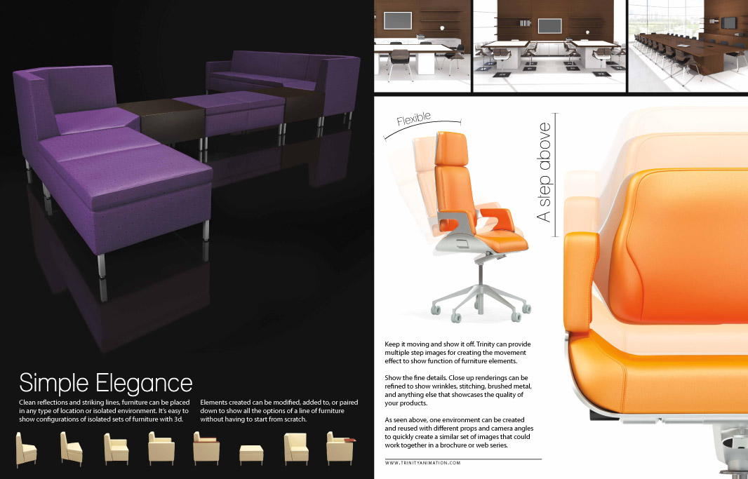 Furniture visualization brochure pages showing marketing imagery for commercial furniture designs.