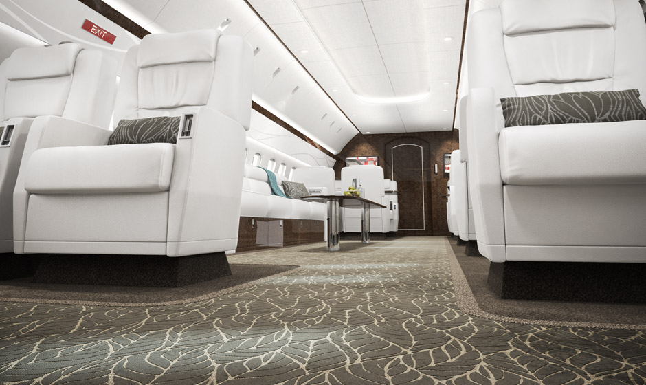 Jet Interior render at low angle to show carpet.