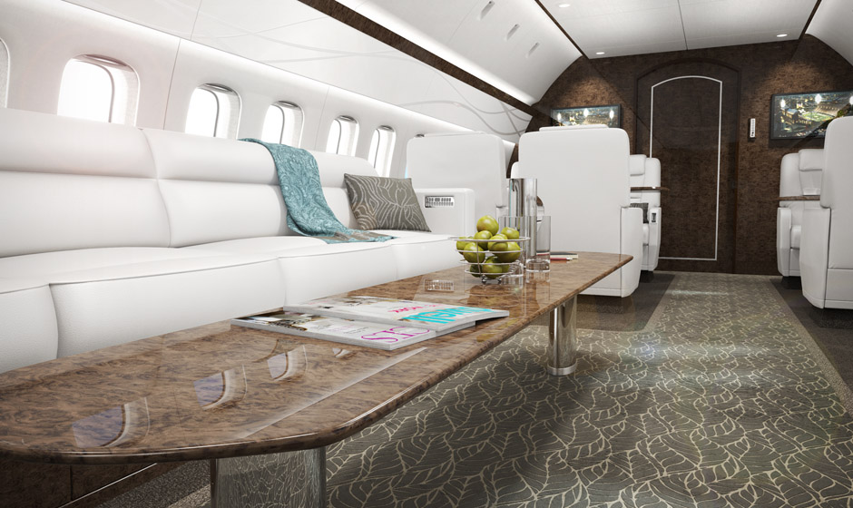 Bespoke sofa and luxurious appointments in this forward view of a jet interior.