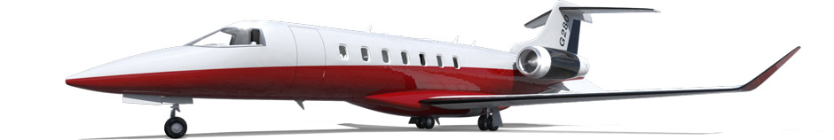 Jet exterior paint scheme rendering with red and white two tone styling.