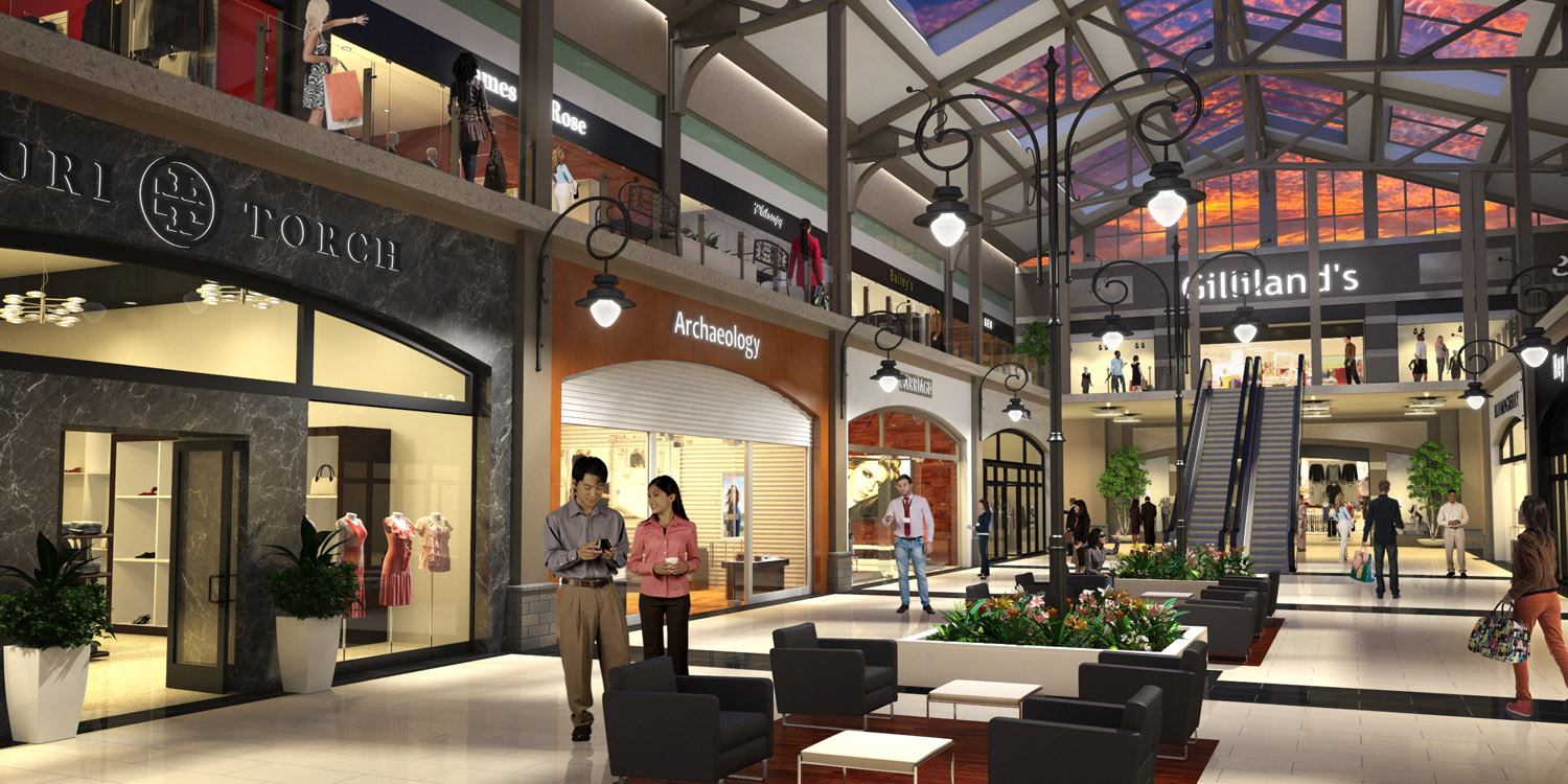 Retail real estate rendering of lower level of mall.