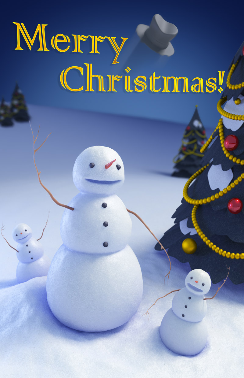 Three snowmen 3D character renderings adorn the cover of the Trinity Animation 2014 Christmas card design.