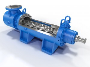 Cutaway illustration of a 2 screw type pump, rendered by Trinity Animation.