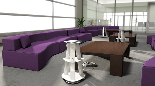 A product rendering of an ECA Isle in white in an office lounge.