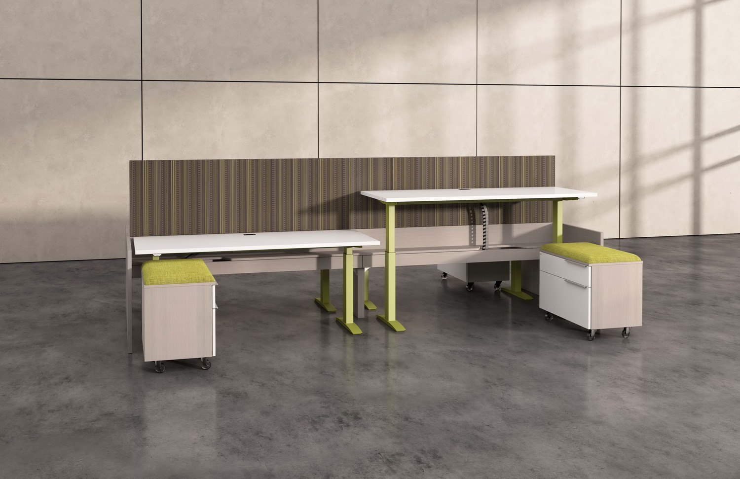 Contract Furniture Rendering of a pair of height adjustable desks side by side.