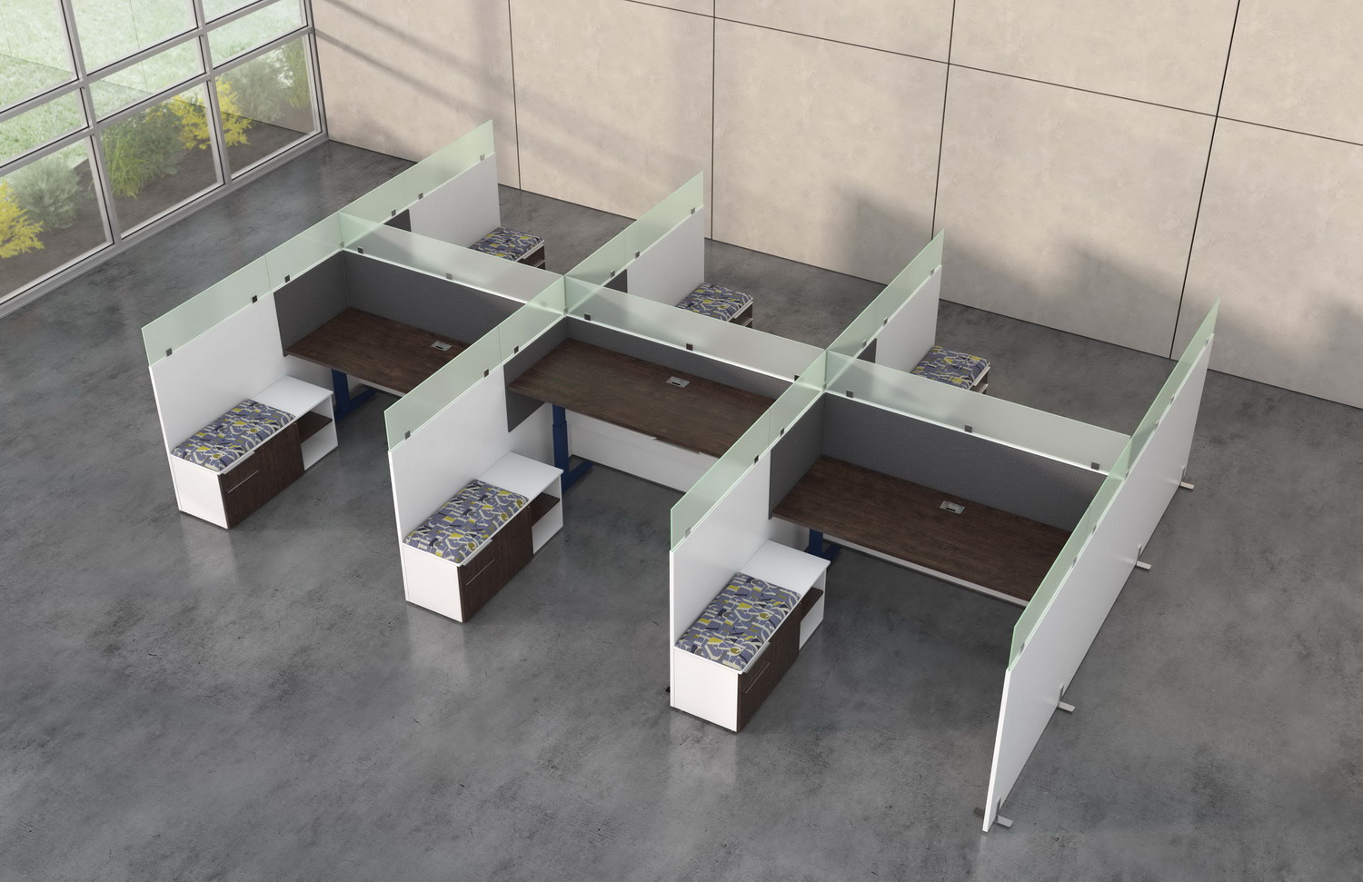 Aerial contract furniture rendering of the Hover benching 6 plex with frosted glass dividers.