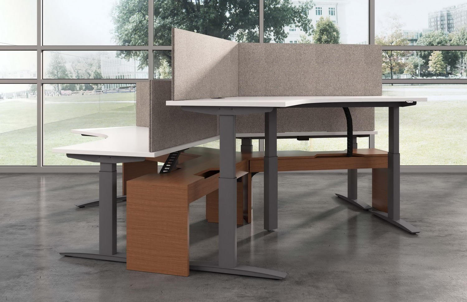 Contract Furniture Rendering of a 3 plex height adjustable desk.