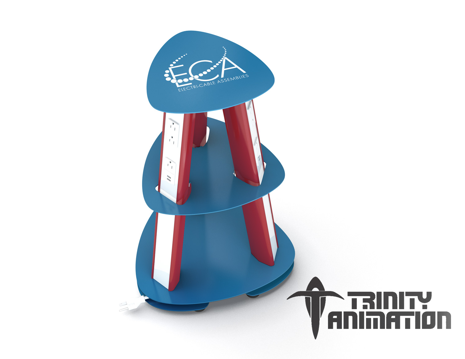 Product rendering of red, white and blue themed ECA Isle power base by Trinity Animation.