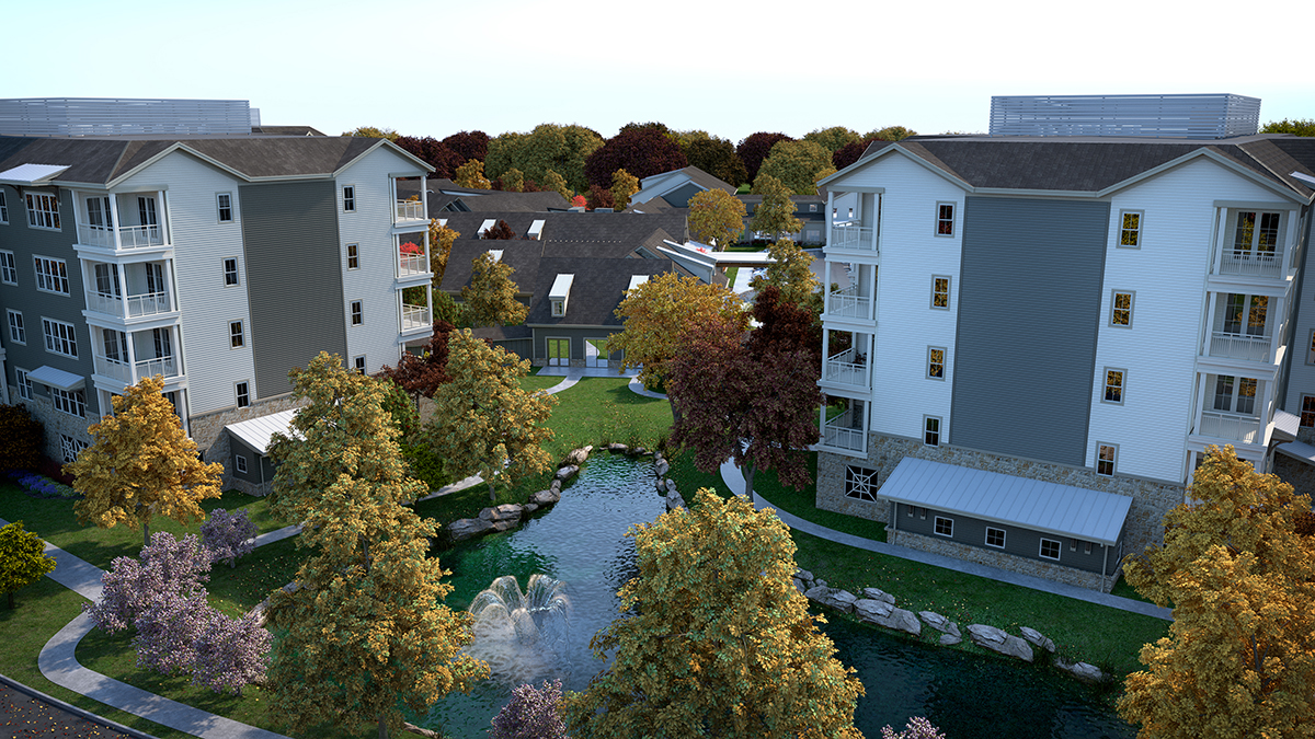 3D architectural rendering of the residential campus seen from above and behind the water feature on the lake. Rendering by Trinity Animation.