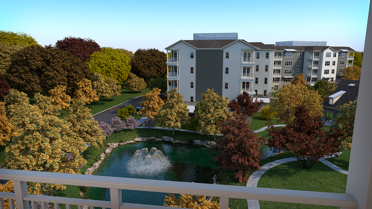 3D architectural rendering of a view from the apartment balcony with the lake fountain at center. Rendering by Trinity Animation.