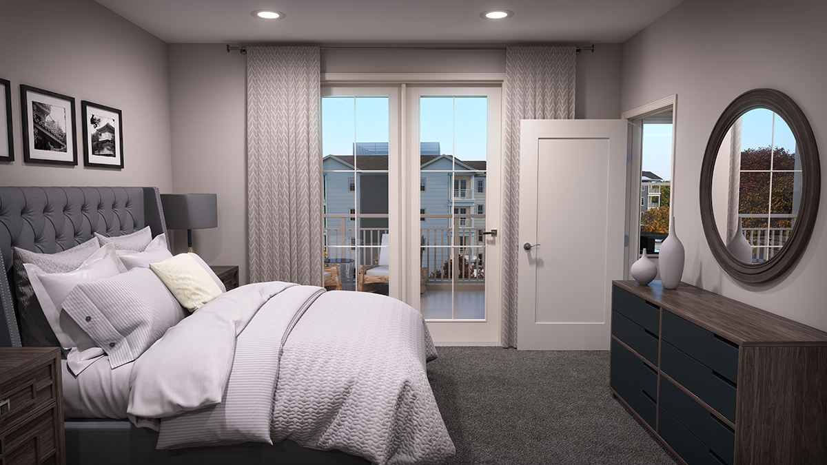 3D architectural rendering of one style of bedroom, with added props. Rendering by Trinity Animation.