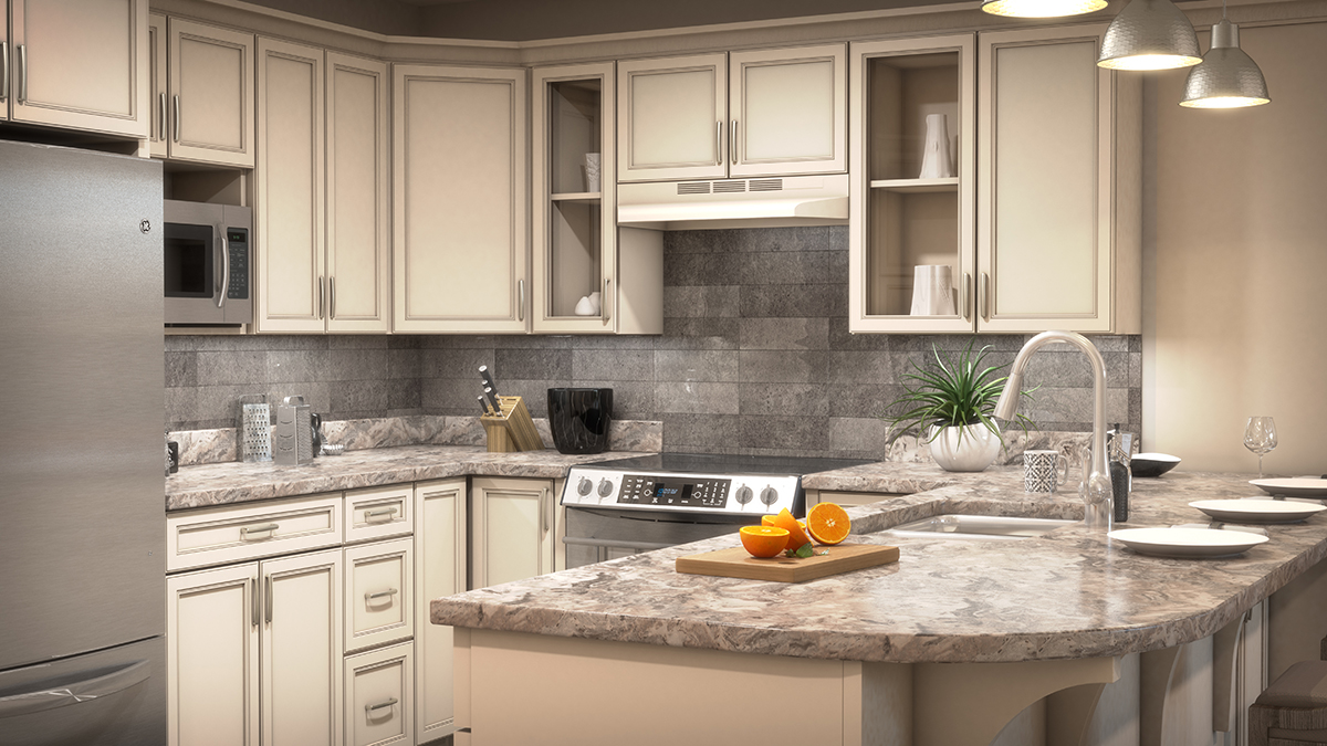 3D architectural rendering of one style of modern kitchen, with cut fruit and other kitchen housewares. Rendering by Trinity Animation.