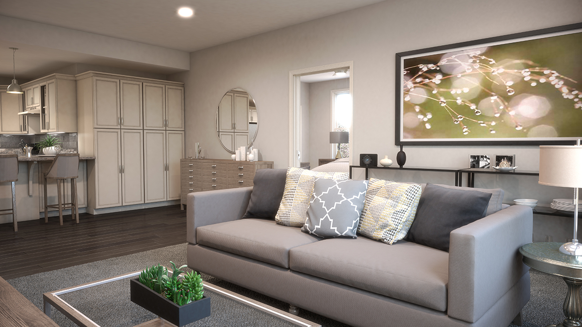 3D architectural rendering of one style of living room, with a minimalist interior design style to give it life. Rendering by Trinity Animation.