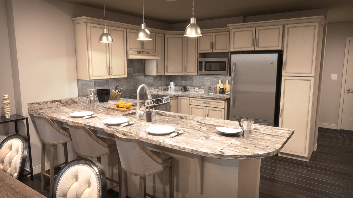 3D architectural rendering of the kitchen, featuring the peninsula set for dining. Rendering by Trinity Animation.